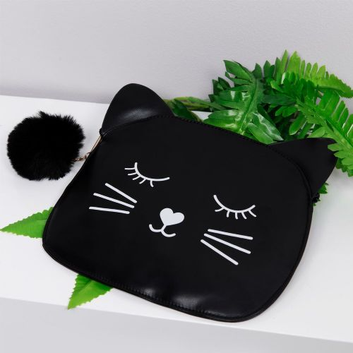 Black Cat Design Faux Leather Cosmetic Bag gift